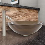Vigo Sheer Black Glass Vessel Bathroom Sink and Dior Vessel Faucet with Pop Up; Sheer Sepia