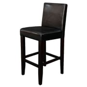 Monsoon Pacific Villa 24'' Bar Stool with Cushion (Set of 2); Black Faux Leather