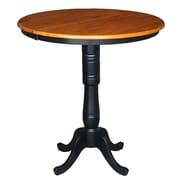International Concepts Round Pedestal Bar Height Pub Table with Leaf; Black / Cherry