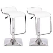 Container Allen Adjustable Height Swivel Bar Stool with Cushion (Set of 2); White