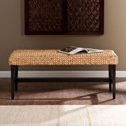 Southern Enterprises Water Hyacinth Woven Bench, Black/Natural (BC0256)