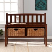 Southern Enterprises Bench with Storage Baskets, Espresso (BC9418)