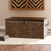 "Southern Enterprises 17"" Water Hyacinth Woven Storage Trunk, Blackwashed with Espresso (CK0124)"