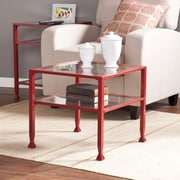 Southern Enterprises Metal/Glass Bunching Cocktail Table, Red (CK2770)