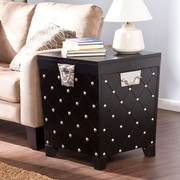 "Southern Enterprises Nailhead 24"" End Table Trunk, Black/Satin Silver (CK6125)"