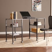 Southern Enterprises Metal/Glass Desk, Distressed Black