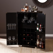 Southern Enterprises Cape Town Contemporary Bar Cabinet, Black (HZ1041)