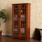 Southern Enterprises Window Pane Media Cabinet, Oak (MS1074T)