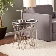 Southern Enterprises Voronsky Nesting Table, Satin Metal, 3 Pieces/Set (OC9011)