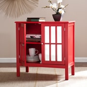 Southern Enterprises Pike Double-Door Mirrored Cabinet, Red (OC9154)