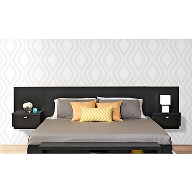 Prepac™ Series 9 Designer Floating King Headboard with Nightstands, Black