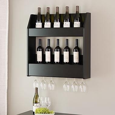 Prepac™ – Support mural à 2 niveaux pour bouteilles de vin et d'alcool, noir