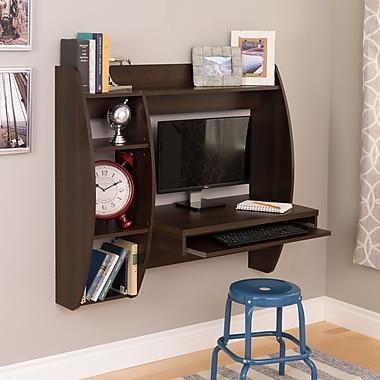 Prepac™ Floating Desk with Storage and Keyboard Tray, Espresso