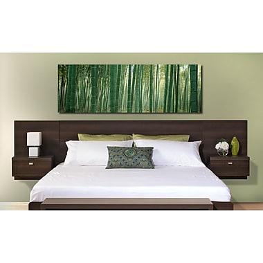 Prepac™ - Tête de lit flottante Series 9 Designer pour très grand lit, avec tables de nuit, fini espresso