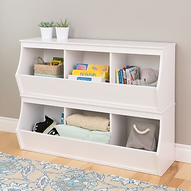 Prepac™ Monterey Stacked 6-Bin Storage Cubby, White