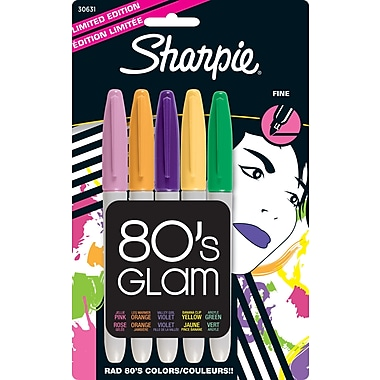 Sharpie® 80's Glam Limited Edition Permanent Markers, Fine, Assorted, 5/Pack
