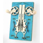 Green Tree Jewelry Double Rack and Pinion Switch Plate; Aqua Marine / Natural Wood / Black Satin