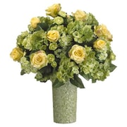 Tori Home 22'' Rose, Hydrangea and Ranunculus Floral Arrangement with Ceramic Vase