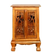 EXP D cor Handmade 24'' Royal Elephants Storage Cabinet / Nightstand - Natural Finish