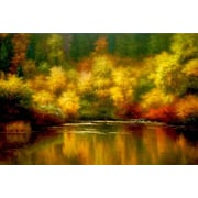 North American Art Nature's Mirror by Melody Thomes Painting Print on Canvas