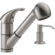 Peerless Faucets 12'' Single Handle Widespread Kitchen Faucet with Soap Dispenser; Stainless Steel