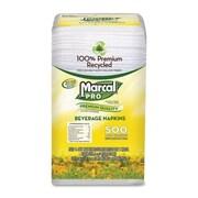 MARCAL Beverage Napkin, 1-Ply, 1/Fold, 9-1/4''x9-1/2'', 4000 per Carton, White