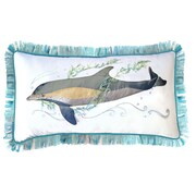 Rightside Design I Sea Life Gem of the Sea Indoor Cotton Dolphin Applique Pillow