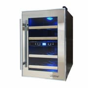 Vinotemp Mirrored 12 Bottle Dual Zone Freestanding Wine Refrigerator