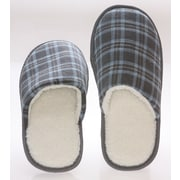 Deluxe Comfort Checkered Cotton Wool Fleece Lining Mens House Slippers; 9- 10