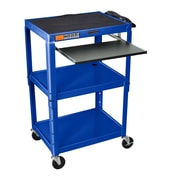 Luxor Compact Steel Mobile Computer Workstation; Royal Blue