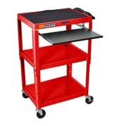 Luxor Compact Steel Mobile Computer Workstation; Red