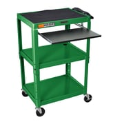 Luxor Compact Steel Mobile Computer Workstation; Green