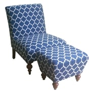 HomePop Slipper Accent Chair & Ottoman; Navy
