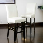 Home Loft Concepts Lisette 30'' Bar Stool with Cushion (Set of 2); Ivory