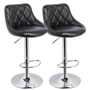 !nspire Adjustable Height Swivel Bar Stool with Cushion (Set of 2); Black