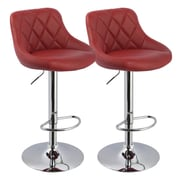 !nspire Adjustable Height Swivel Bar Stool with Cushion (Set of 2); Dark Red