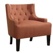 Poundex Bobkona Ansley Blended Linen Wingback Arm Chair; Canyon