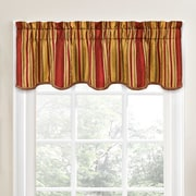 Traditions by Waverly Stripe Ensemble Scalloped 52'' Curtain Valance; Crimson