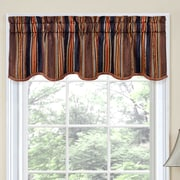 Traditions by Waverly Stripe Ensemble Scalloped 52'' Curtain Valance; Onyx