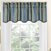 Traditions by Waverly Stripe Ensemble Scalloped 52'' Curtain Valance; Porcelain