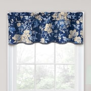 Traditions by Waverly Forever Yours Floral 52'' Curtain Valance; Indigo