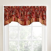 Traditions by Waverly Navarra Floral 52'' Curtain Valance; Crimson