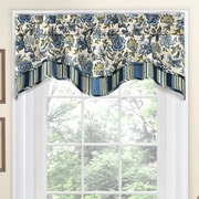 Traditions by Waverly Navarra Floral 52'' Curtain Valance; Porcelain