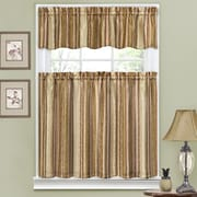 Traditions by Waverly Stripe Ensemble 52'' Valance and Tier Set; Antique