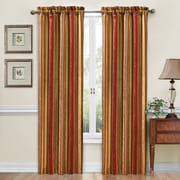 Traditions by Waverly Stripe Ensemble Single Curtain Panel; Crimson