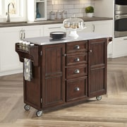 Home Styles Country Comfort Kitchen Cart; Stainless Steel