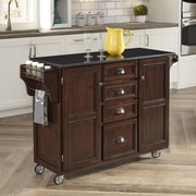 Home Styles Country Comfort Kitchen Cart; Black Granite