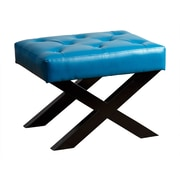 Abbyson Living Leather Bench Ottoman; Turquoise