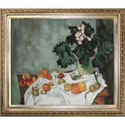 Tori Home Cezanne Still Life with Apples and a Pot of Primroses Hand Painted Oil on Canvas Wall Art