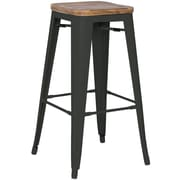 New Pacific Direct Metropolis Metal Backless Bar Stool with Wood Seat (Set of 4); Black